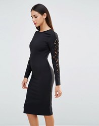 Forever Unique Lavette Bodycon Dress With Cut Out Embellished Sleeves Black