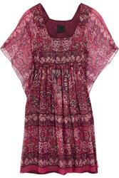 Anna Sui Lame Striped Printed Silk Blend Mini Dress Pink Purple