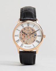 Sekonda Exposed Mechanical Skeleton Leather Watch In Black With Gold Dial Exclusive To Asos Black