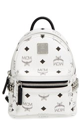 Mcm 'Mini Stark X' Studded Convertible Backpack White