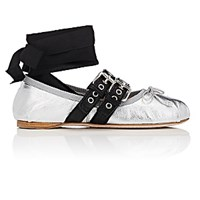 Miu Miu Women's Double Buckle Leather Ankle Tie Flats Silver