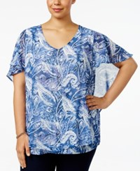 Ny Collection Plus Size Cape Sleeve Mesh Top Arctic Glare
