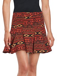 Bcbgmaxazria Printed Mini Skirt Red Multi