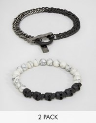 Icon Brand Skull And Marble Beaded Bracelets In 2 Pack Black