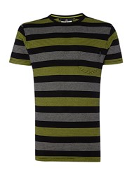Duck And Cover Locas Stripe Jaquard T Shirt Black