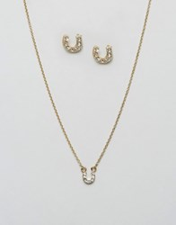 Johnny Loves Rosie Horseshoe Necklace And Earring Gifting Set Gold