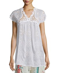 Johnny Was Cap Sleeve Empire Crochet And Eyelet Blouse Women's