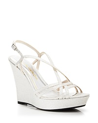 Caparros Open Toe Platform Wedge Evening Sandals Shilow Light Silver Glitz