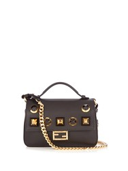Fendi Double Micro Baguette Embellished Cross Body Bag Black Gold