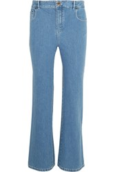 Chloe Scalloped High Rise Flared Jeans Mid Denim