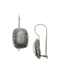 Lord And Taylor Sterling Silver Marcasite Rectangle Earrings