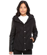 Blank Nyc Puffy Jacket With Hood In Bed Fellows Black Women's Coat