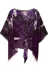 Roberto Cavalli Printed Silk Georgette Top Purple