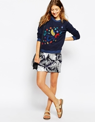Le Mont St Michel Silk Mix Skirt In Tree Print Navyground