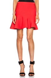 Ohne Titel Solid Asymmetric Flare Rayon Blend Skirt In Red