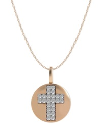 Macy's Diamond Double Cross Disk Pendant Necklace In 14K Rose Gold 1 10 Ct. T.W.