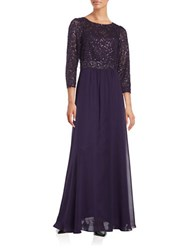 Decode 1.8 Sequined Lace Accented A Line Gown Plum