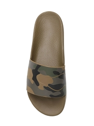 Valentino Camouflage Printed Rubber Slide Sandals Military Green