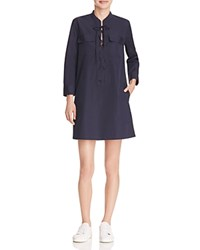 Theory Jullitah Lace Up Poplin Shirt Dress Black