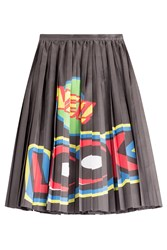 Moschino Cotton Silk Pleated Skirt With Print Multicolor