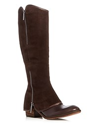 Donald J Pliner Devi Zipper Suede Overlay Tall Boots Dark Brown