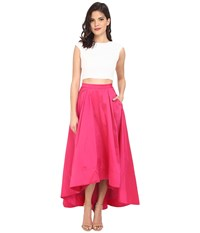 Aidan Mattox Cap Sleeve Sequin Top With Taffeta A Line High Low Skirt Ivory Fuchsia Women's Dress Blue