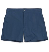 Officine Generale Roman Short Length Shell Swim Shorts Blue