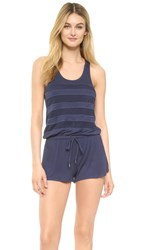 Splendid Tropical Paradise Mesh Trim Romper Navy