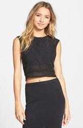 Rvca 'Number One' Cable Knit Sleeveless Sweater Black