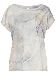 Betty Barclay Betty And Co. Marble Print Cotton Top Cream Silver