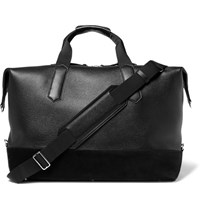 Tom Ford Suede Trimmed Grained Leather Holdall Black
