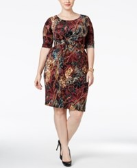Connected Plus Size Printed Faux Wrap Sheath Dress Wine