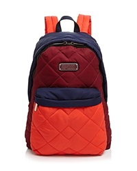 Marc By Marc Jacobs Crosby Quilt Nylon Color Block Backpack Red Canyon Multi