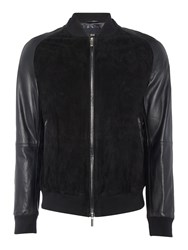 Hugo Boss Mornas Lamb Leather And Goat Suede Bomber Jacket Dark Navy