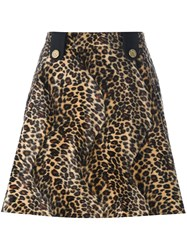 House Of Holland Velvet Effect Animal Print Skirt Nude And Neutrals