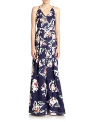 Phoebe Couture Organza Floral Print Gown Blue Multi