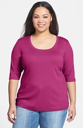 Sejour Plus Size Women's Elbow Sleeve Scoop Neck Tee Burgundy Beauty