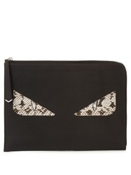 Fendi Bag Bugs Leather And Snakeskin Pouch Black