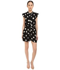 Kate Spade Daisy Dot Crepe Romper Black Women's Jumpsuit And Rompers One Piece