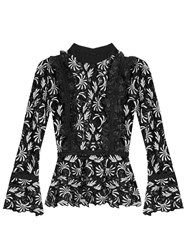 Self Portrait Ruffle Trimmed Guipure Lace Top Black Multi