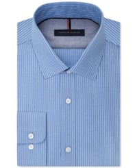 Tommy Hilfiger Men's Slim Fit Blue Stripe Dress Shirt Light Blue