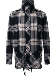 Public School High Neck Plaid Shirt Black