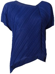 Issey Miyake Pleats Please By Pleated Asymmetric Blouse Blue