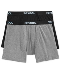 32 Degrees Cool By Weatherproof Boxer Briefs 2 Pack Grey Heather Black