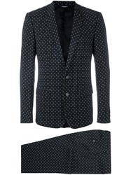 Dolce And Gabbana Polka Dot Print Suit Black