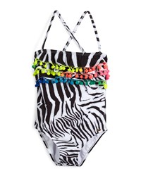 Pilyq Zebra Print One Piece Swimsuit African Rays Girls' Size 2 10 Girl's