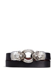 Alexander Mcqueen Horsebit Twin Skull Double Wrap Leather Bracelet Black