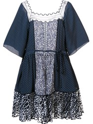 Chloe Polka Dot Babydoll Dress Blue