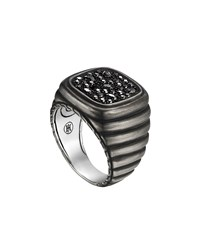 Bedeg Linear Line Square Ring With Black Sapphire John Hardy Slv Black
