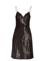 Saint Laurent V Neck Lame Mini Dress Black